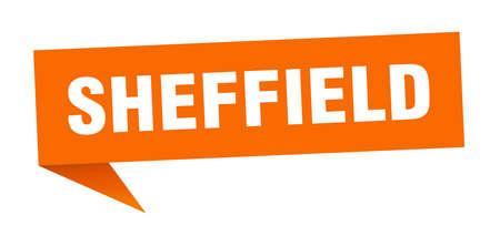 Sheffield sticker. Orange Sheffield signpost pointer sign