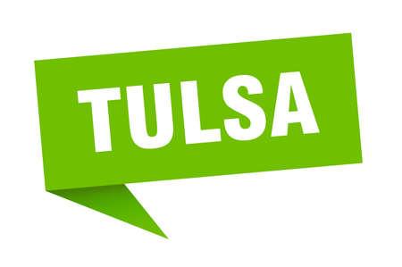 Tulsa sticker. Green Tulsa signpost pointer sign