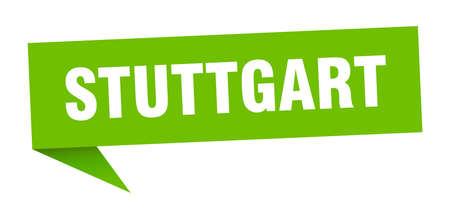 Stuttgart sticker. Green Stuttgart signpost pointer sign