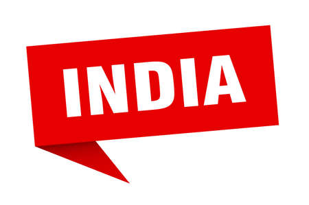 India sticker. Red India signpost pointer sign