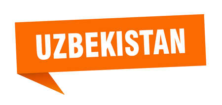 Uzbekistan sticker. Orange Uzbekistan signpost pointer sign  イラスト・ベクター素材