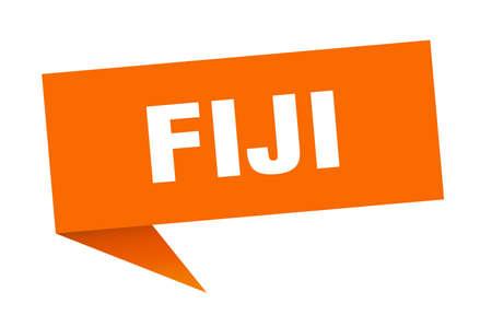 Fiji sticker. Orange Fiji signpost pointer sign