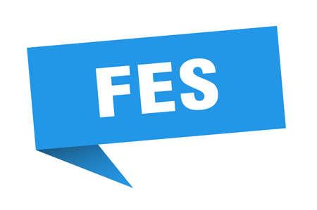 Fes sticker. Blue Fes signpost pointer sign  イラスト・ベクター素材