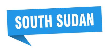 South Sudan sticker. Blue South Sudan signpost pointer sign  イラスト・ベクター素材