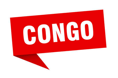 Congo sticker. Red Congo signpost pointer sign