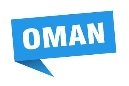 Oman sticker. Blue Oman signpost pointer sign