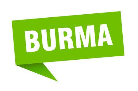 Burma sticker. Green Burma signpost pointer sign