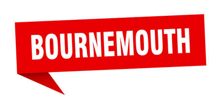Bournemouth sticker. Red Bournemouth signpost pointer sign  イラスト・ベクター素材