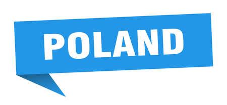 Poland sticker. Blue Poland signpost pointer sign
