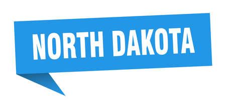North Dakota sticker. Blue North Dakota signpost pointer sign