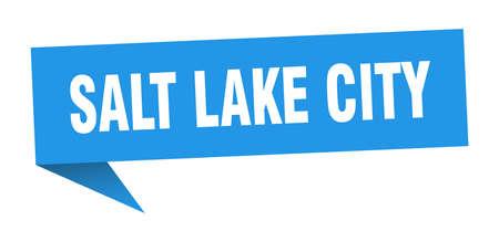 Salt Lake City sticker. Blue Salt Lake City signpost pointer sign