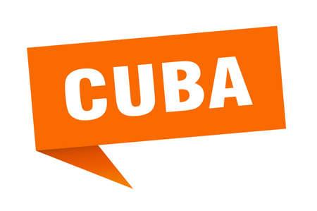 Cuba sticker. Orange Cuba signpost pointer sign