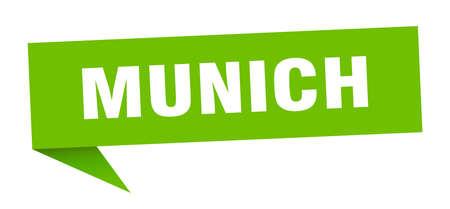 Munich sticker. Green Munich signpost pointer sign