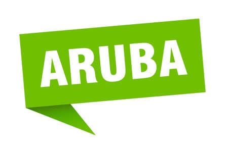 Aruba sticker. Green Aruba signpost pointer sign  イラスト・ベクター素材
