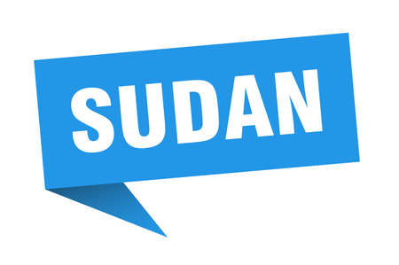 Sudan sticker. Blue Sudan signpost pointer sign