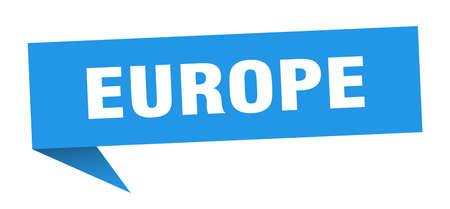 europe sticker. Blue europe signpost pointer sign  イラスト・ベクター素材