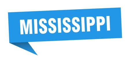 Mississippi sticker. Blue Mississippi signpost pointer sign  イラスト・ベクター素材