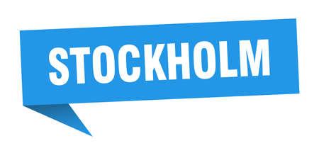 Stockholm sticker. Blue Stockholm signpost pointer sign