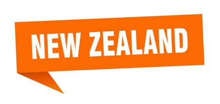 New Zealand sticker. Orange New Zealand signpost pointer sign