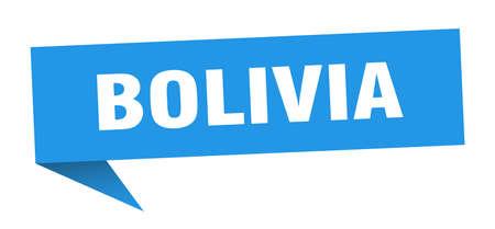 Bolivia sticker. Blue Bolivia signpost pointer sign