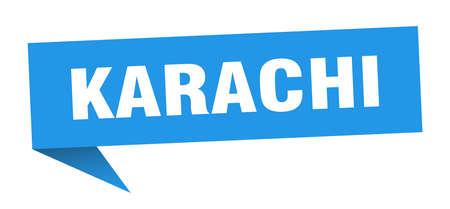 Karachi sticker. Blue Karachi signpost pointer sign  イラスト・ベクター素材