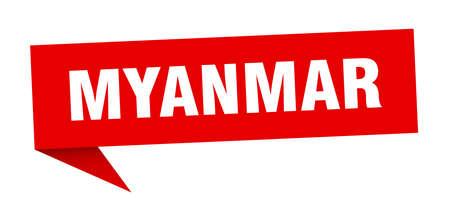 Myanmar sticker. Red Myanmar signpost pointer sign