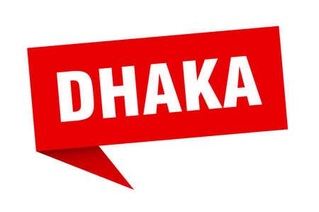 Dhaka sticker. Red Dhaka signpost pointer sign