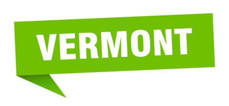 Vermont sticker. Green Vermont signpost pointer sign