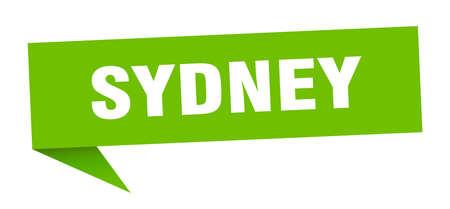 Sydney sticker. Green Sydney signpost pointer sign 矢量图像