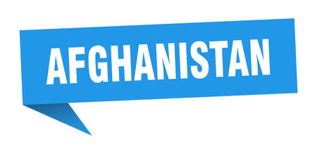 Afghanistan sticker. Blue Afghanistan signpost pointer sign