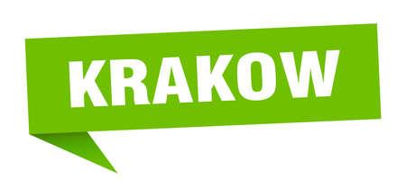Krakow sticker. Green Krakow signpost pointer sign