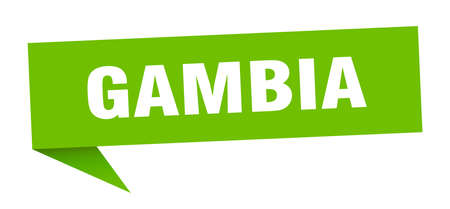 Gambia sticker. Green Gambia signpost pointer sign  イラスト・ベクター素材