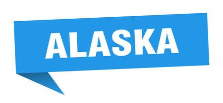 Alaska sticker. Blue Alaska signpost pointer sign