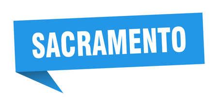 Sacramento sticker. Blue Sacramento signpost pointer sign