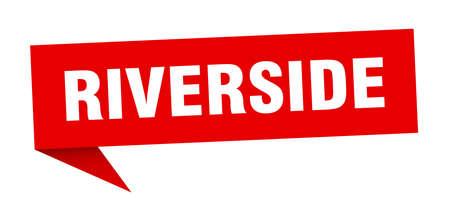 Riverside sticker. Red Riverside signpost pointer sign