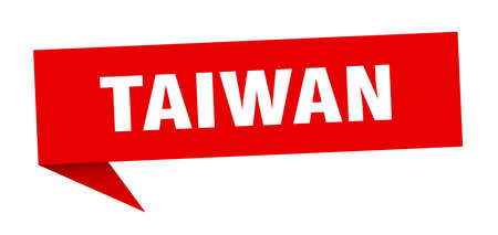Taiwan sticker. Red Taiwan signpost pointer sign