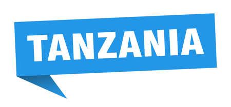 Tanzania sticker. Blue Tanzania signpost pointer sign