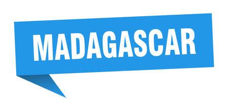 Madagascar sticker. Blue Madagascar signpost pointer sign