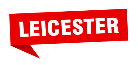 Leicester sticker. Red Leicester signpost pointer sign