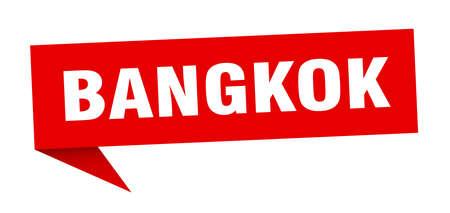 Bangkok sticker. Red Bangkok signpost pointer sign  イラスト・ベクター素材