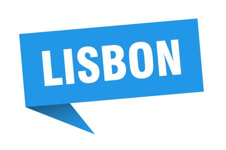 Lisbon sticker. Blue Lisbon signpost pointer sign