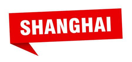 Shanghai sticker. Red Shanghai signpost pointer sign