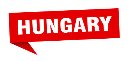 Hungary sticker. Red Hungary signpost pointer sign
