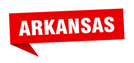 Arkansas sticker. Red Arkansas signpost pointer sign