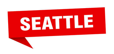Seattle sticker. Red Seattle signpost pointer sign