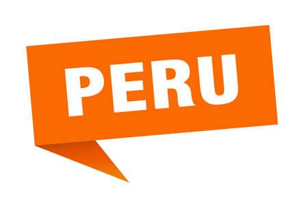Peru sticker. Orange Peru signpost pointer sign  イラスト・ベクター素材