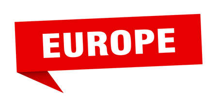 europe sticker. Red europe signpost pointer sign