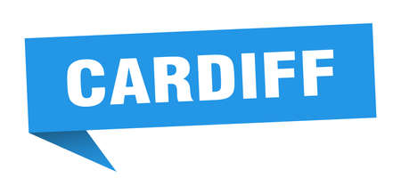 Cardiff sticker. Blue Cardiff signpost pointer sign