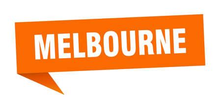 Melbourne sticker. Orange Melbourne signpost pointer sign Illustration