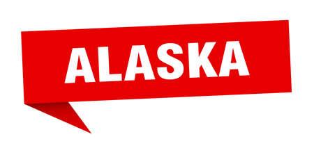 Alaska sticker. Red Alaska signpost pointer sign